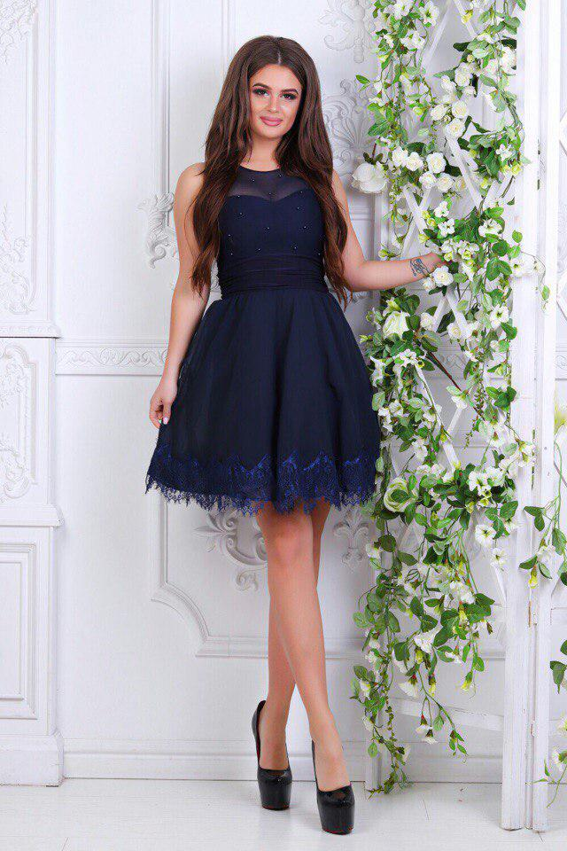 e2c59d74b3f Платье короткое с кружевом индиго - Оптовый интернет-магазин