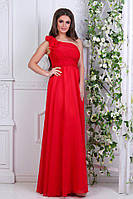 Платье длинное вечернее с шифоном красное
