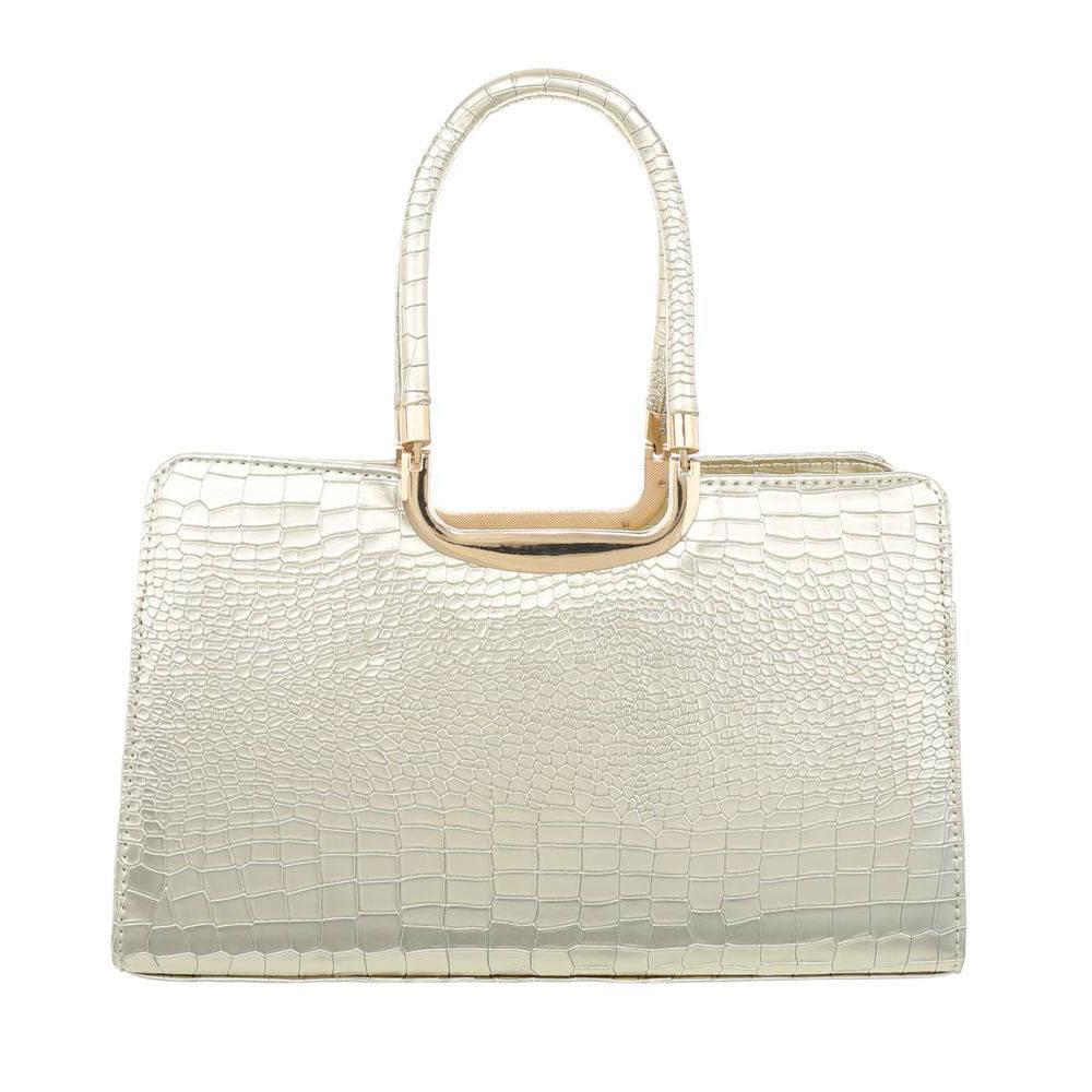Женская сумка саквояж из кожи крокодила (Европа) Светло-золотой