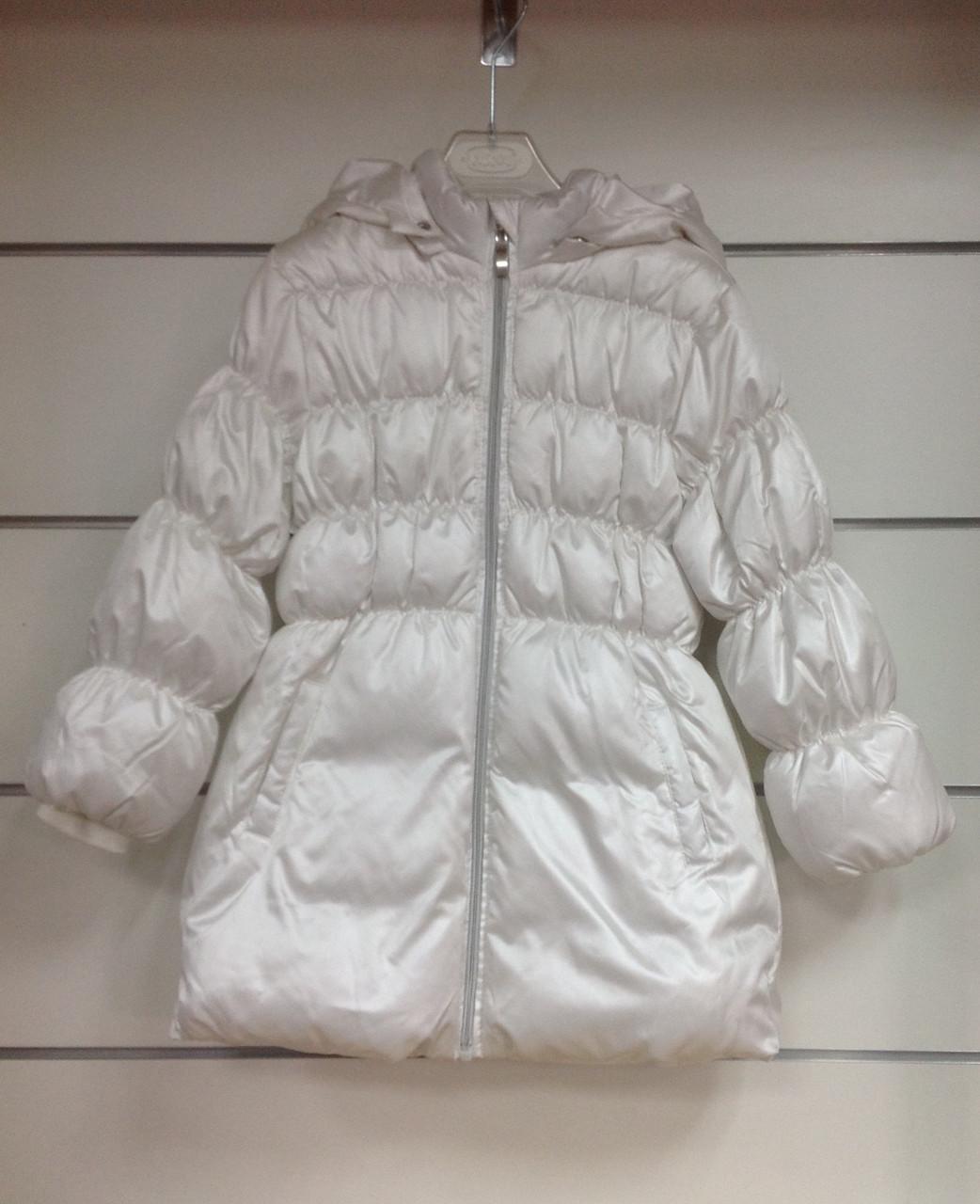 Пальто для девочки пуховое Chicco белое