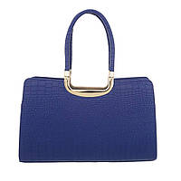 Женская сумка саквояж из кожи крокодила (Европа) Синий