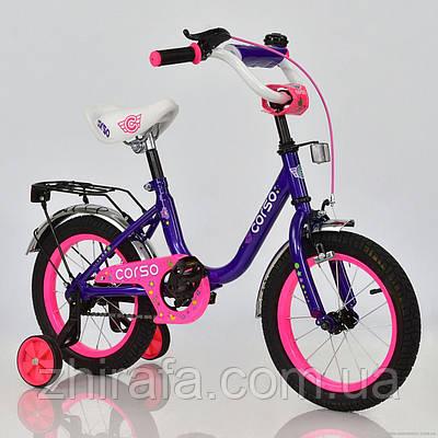 Детский двухколесный велосипед CORSO, 14 дюймов, фиолетовый