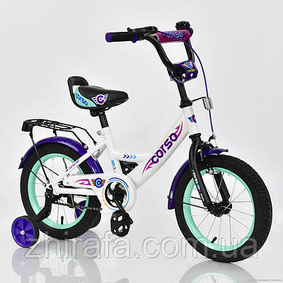 Детский двухколесный велосипед CORSO, 14 дюймов, белый