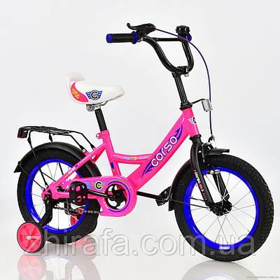 Детский двухколесный велосипед CORSO, 14 дюймов, розовый