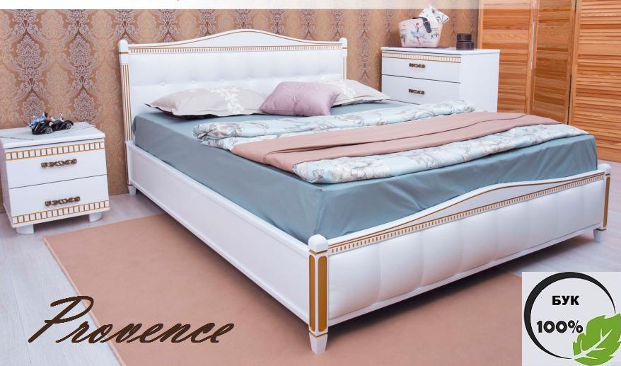 Двуспальная кровать «Прованс» с патиной и фрезеровкой мягкая спинка квадраты