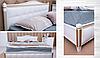 Двуспальная кровать «Прованс» с патиной и фрезеровкой мягкая спинка квадраты, фото 5