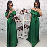 Женское шикарное шелковое платье с воланом, в расцветках (МА-5-0418)
