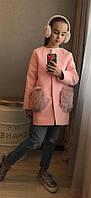 Пальто для девочек с меховыми карманами, фото 1