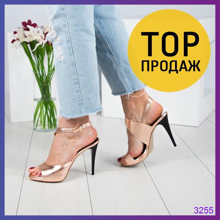 0389eee02358 Женские босоножки на каблуке 11 см, золотистого цвета   босоножки женские  кожаные, с ремешком