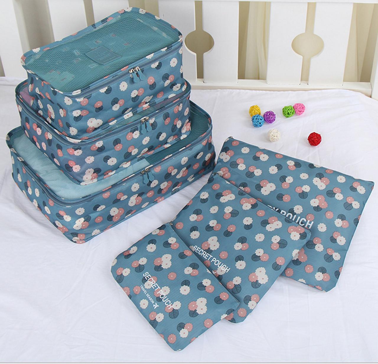 Набор дорожных сумок для путешествия из 6 штук голубой