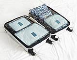 Набор дорожных сумок для путешествия из 6 штук голубой, фото 2