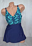 Слитный женский купальник платье+шорты, увеличенный