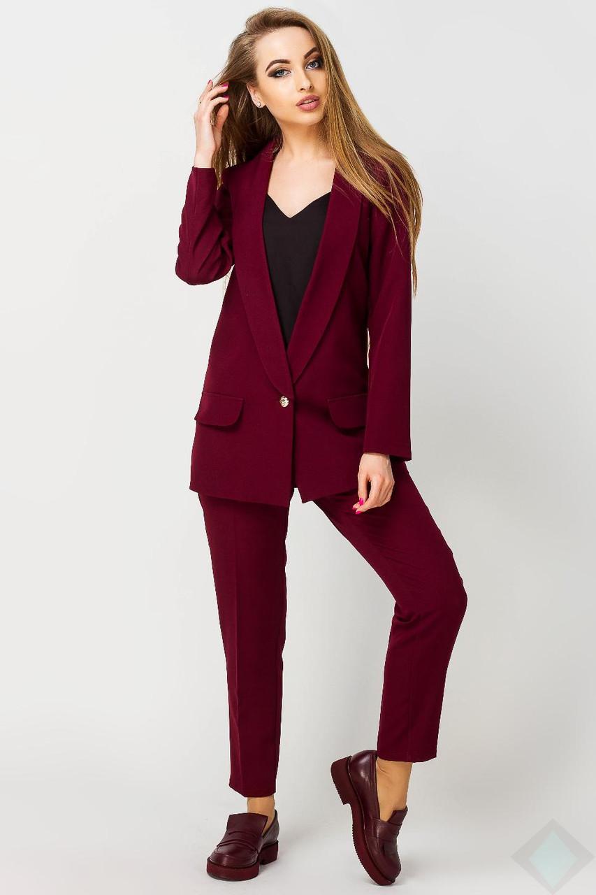 768e682d201 Бордовый костюм брюки и пиджак Адалина - DS Moda - женская одежда оптом от  производителя в