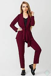 Женский костюм пиджак и брюки Одри бордовый