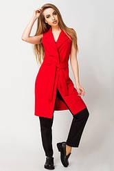 Удлиненный жилет с поясом и карманами Фаина красный