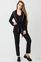 Модный женский костюм с брюками Одри кант черный