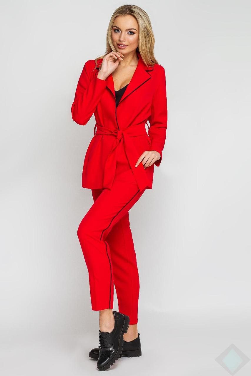0ab25da0fc0 Женский костюм красный брючный Одри кант - DS Moda - женская одежда оптом  от производителя в