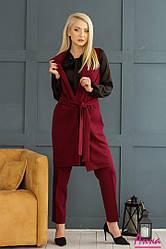 Женский брючный костюм с длинным жилетом Анна бордовый