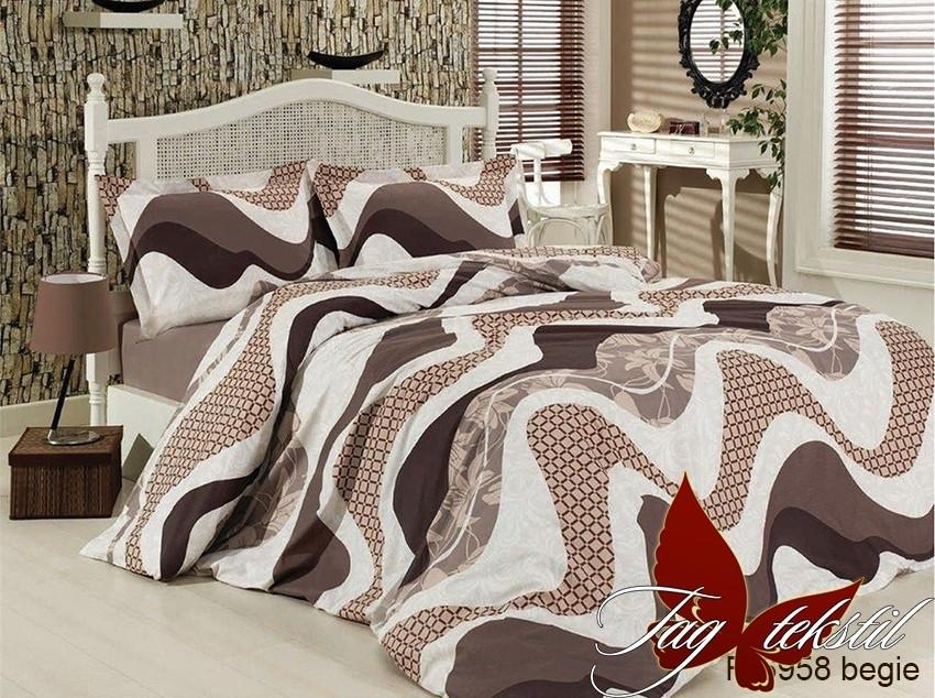Постельное белье ТМ TAG/2-спальные/Ренфорс R6958 begie
