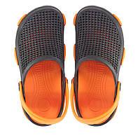 Женские кроксы черные с оранжевым. Копия.