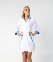 Медицинский халат с голубыми вставками (23-2)