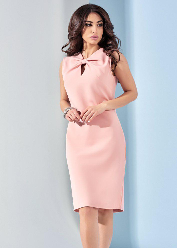 Летнее женское платье с бантом розового цвета. Модель 17927. Размеры 42
