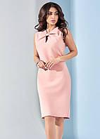 Летнее женское платье с бантом розового цвета. Модель 17927. Размеры 42, фото 1