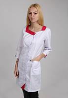 Красивый медицинский халат с малиновой отделкой (74-1)