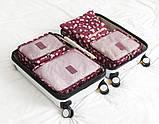 Набор дорожных сумок для путешествия из 6 штук бордовый, фото 2