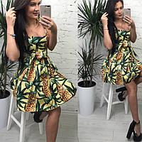 Женский сарафан «Анжелика 1» из коттона с ярким принтом, в расцветках (МА-7-0418)