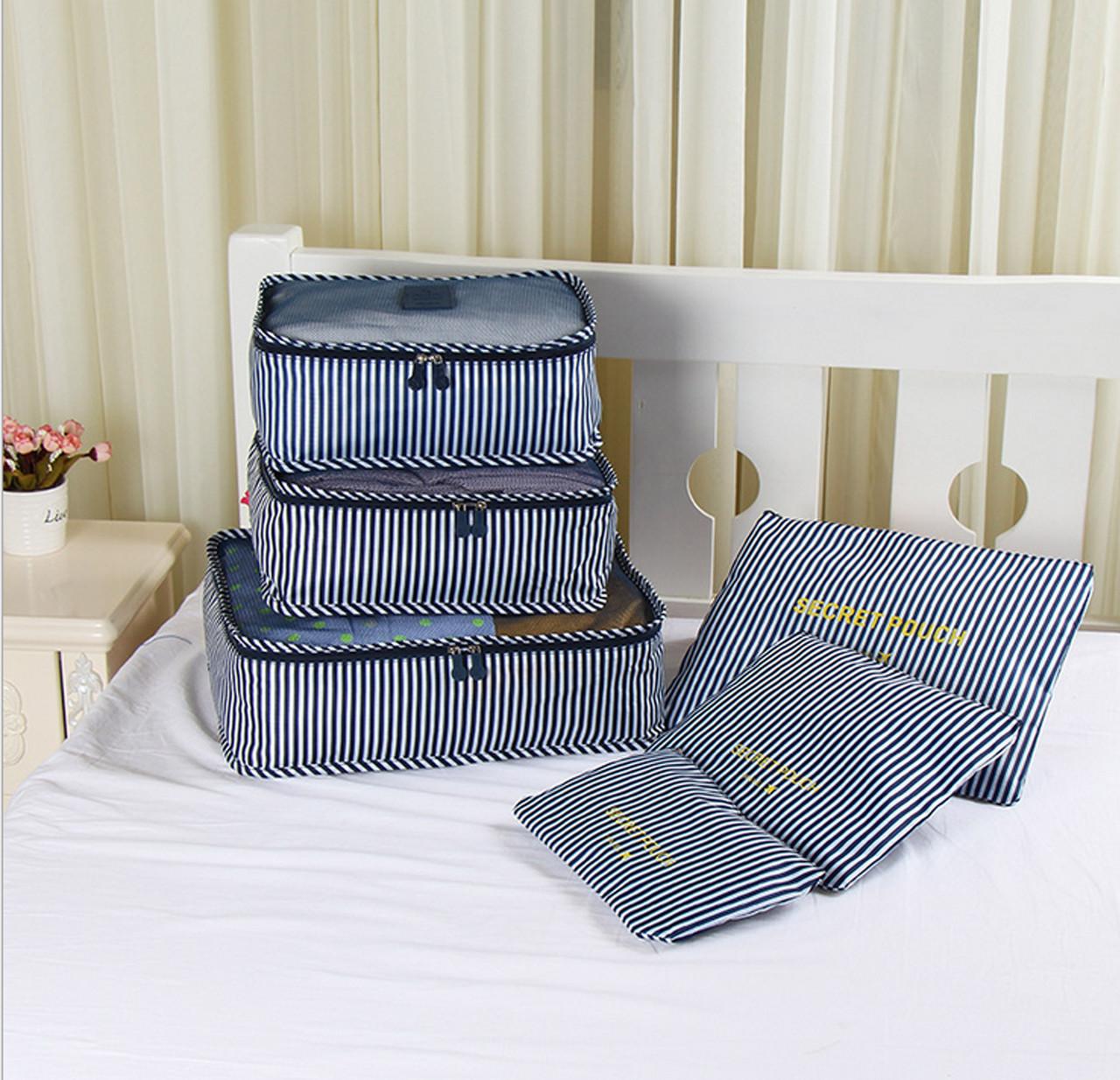 Набор дорожных сумок для путешествия из 6 штук сине-белая полоска