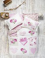 Комплект постельного белья панно Karaca Home Sherry розовый