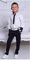 Белая рубашка школьная для мальчика с имитацией галстука, фото 1