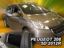 Дефлекторы окон (ветровики)  PEUGEOT 208 - 5d 2012R.->(HEKO)