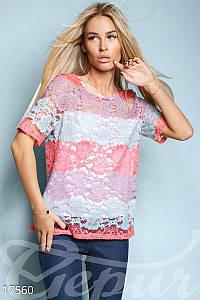 Разноцветная гипюровая блуза
