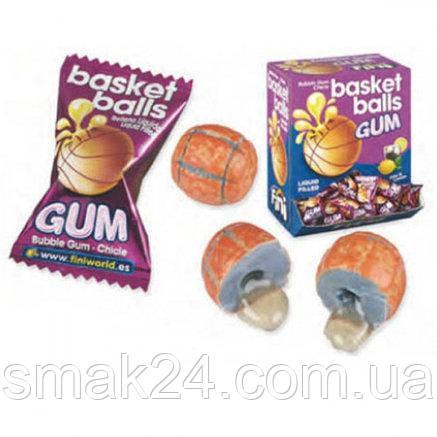 Жевательные конфеты (жвачки) без глютена Fini Basket balls баскетбольный мяч со вкусом колы и лимон Испания 5г