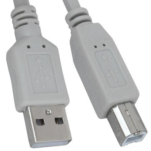 Шнур USB штекер A - штекер В, v.2.0, диам.-4,5мм, 3м, серый