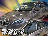 Дефлекторы окон (ветровикиPEUGEOT 308 5d od 14r Combi →(HEKO)