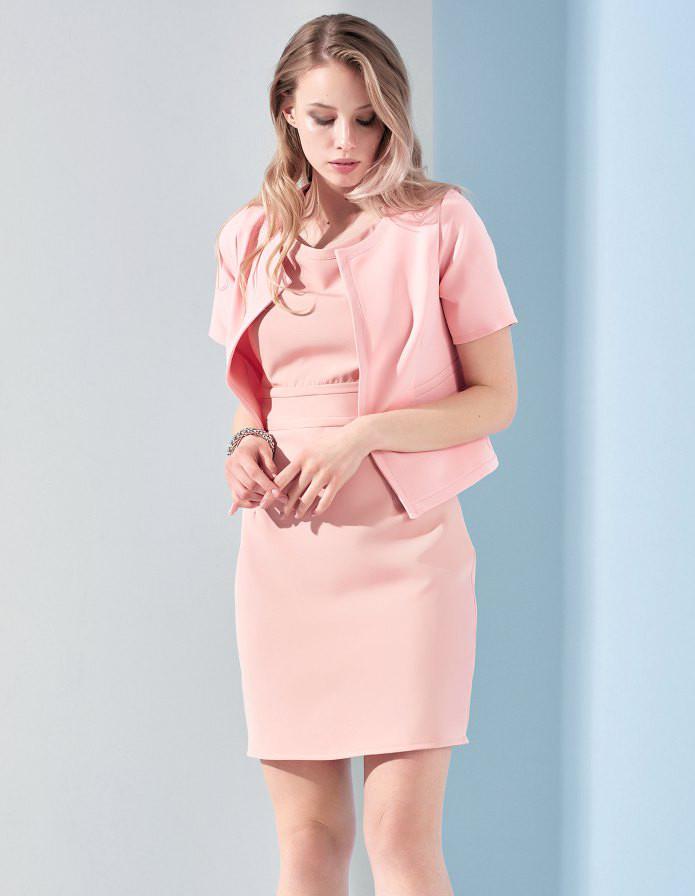 4e3064cafb2 Женский комплект из платья и жакета розового цвета. Модель 17932. Размеры 42 -46