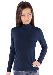 Водолазка жіноча великого розміру синя темна (гольф) горло стійка довгий рукав хб