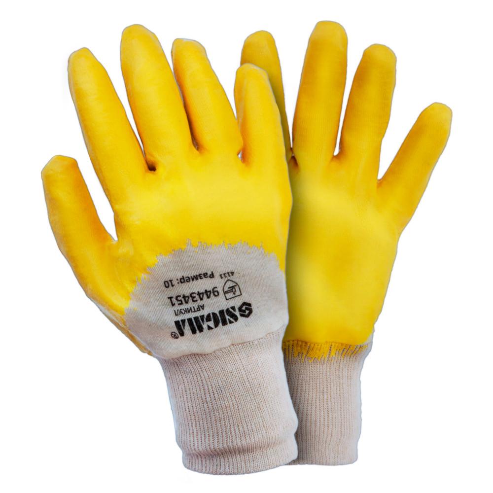 Перчатки трикотажные с частичным нитриловым покрытием р10 (желтые) 120пар sigma 9443451