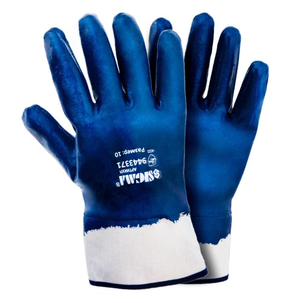 Перчатки трикотажные с полным нитриловым покрытием р10 (синие краги) 120пар sigma 9443371