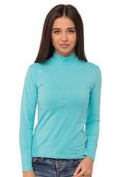 Водолазка (гольф) блакитна жіноча з горлом стійка однотонна довгий рукав хб стрейч трикотажна