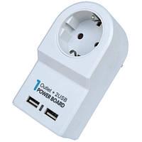 Переходник сетевой Евро вилка/розетка+ 2 гнезда USB, с подставкой, EMT