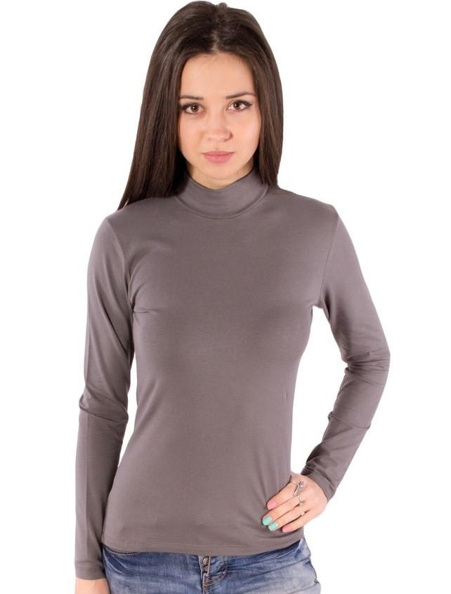 eff9448fa4cfc Водолазка (гольф) серая женская с горлом стойка длинный рукав хлопок стрейч  трикотажная (Украина