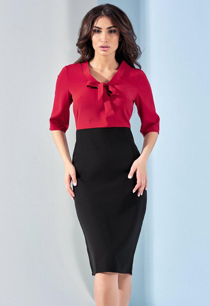 cb415f64ea1 Летнее офисное платье из комбинированных материалов. Модель 17939. Размеры  42-46 - Irse