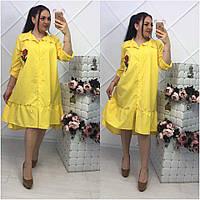 Женское платье - рубашка свободного силуэта, в расцветках, р-р 50-54 (МБ-5-0418)