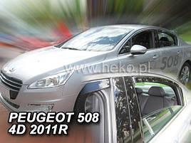 Дефлекторы окон (ветровики)  PEUGEOT 508 - 4D 2011R. →(HEKO)