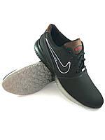 Nike Air кроссовки мужские реплика из натуральной кожи чёрный