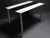 Стекляный стол на кухню Вектор черный-бежевый